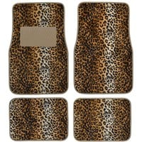 Licensed Official Brand New 4pcs Set Safari Animal Print Front Rear Car Truck Carpet Floor Mats