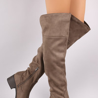 "City Classified Suede Slit Block Heeled Over-The-Knee Boots Knee High Boots Heel Height: 2"" Shaft Length: 22.25"" (including heel) Top Opening Circumference: 15"" Dark Taupe & Black"