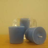 Sky blue vanilla scented soy votive candles, sky blue vegan friendly candles