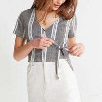 UO Striped Wrap Cropped Top | Urban Outfitters Canada