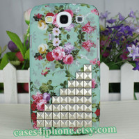 Samsung cases Galaxy SIII Galaxy S3 i9300 Case unique Case Studded  case victorian rose pink floral case with white pyramid studs
