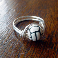 Volleyball Wire Wrapped Ring ceramic bead by TwistofNatureJewelry