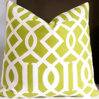 Contemporary Apple Green Pillow Cover - Trellis Fabric Both Sides or Solid Back available - All Sizes Available