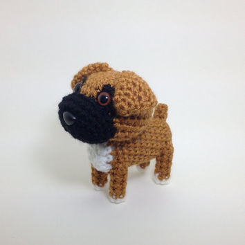 Boxer Amigurumi Dog Crochet Dog Hand made Stuffed Animal Doll / Made to Order