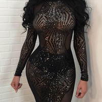 Black Patchwork Sequin Sparkly Cut Out Backless Sheer Clubwear NYE Party Mini Dress