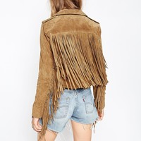 ASOS TALL Biker Jacket In Suede With Fringing
