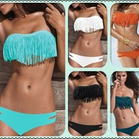 Fashion Tassel Padded Bandeau Fringe Bikini Swimsuit