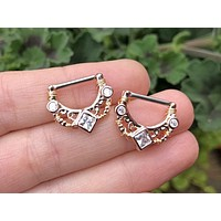 Square Diamond Rose Gold Nipple Shield Barbell Jewelry Barbell