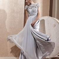 Brilliant Empire Jewel Lace Floor-Length Sweep Ruched&Embroided Evening Dress