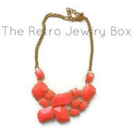 Orange stone necklace new years statement bib with gold chain necklace with sparkle