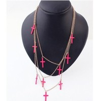 ** MAKE OFFER ** New Multi Layers Pink Cross Statement Necklace Independent Designer one size by Alisha's Fashion ~MAKE ME AN OFFER~