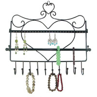 Wall Mount Heart Shape Hanging Earring Holder Necklace Jewelry Organizer