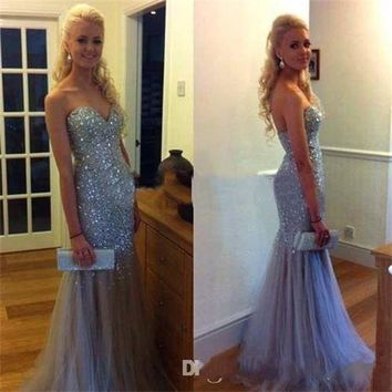 Mermaid Crystal Long Evening dresses Luxury Sweetheart Pageant Formal Prom Gown