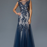 G2160 Navy Lace Applique High Neck Tulle Mermaid Prom Dress