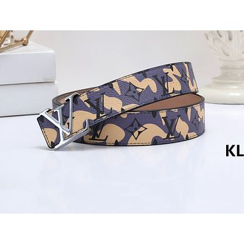 LV Hot seller of men's and women's fashionable printed graffiti belts Yellow Belt+Silvery buckle