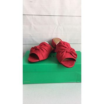 J. Renee Womens Red Sattuck Fabric Open Toe Mules, Size 6.5