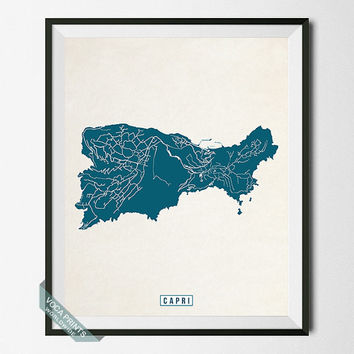 Capri Print, Italy Poster, Capri Map, Italy Print, Capri Poster, Italy Map, Street Map, Honeymoon, Wall Decor, Wall Art
