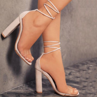 Fashion Summer Women Open-Toed Stripe Contracted Kont Heel-Strap Sandals Nude