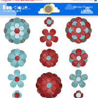 50% OFF: Winter Flowers Digital Clipart for Instant Download. Red Flowers Clipart. WInter Clip Art. Teal Flowers Clip Art. Winter Clip Art.