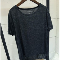 Short Sleeves Round Neck High Low Loose T-Shirt