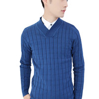 Plaid Knit Pullover Sweater For Men