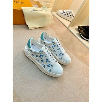 2021 LV Louis Vuitton Women Leather HIGH Top Sneakers Shoes BLUE WHITE