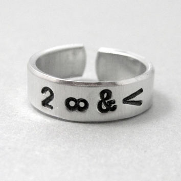 To Infinity and Beyond Ring - Hand Stamped Aluminum Ring - adjustable