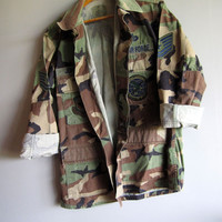 Vintage Camo Air Force Jacket Shirt Camouflage Military Used Small Short
