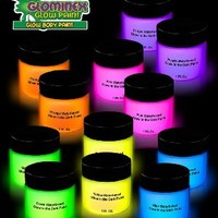 Glominex AD789 Glow Body and Face Paint 1oz Jars - Assorted Colors 12ct
