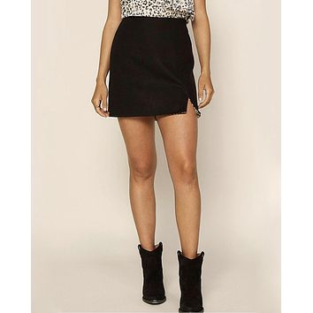 Memories Front Side Slit Mini Skirt in Black/Cheetah