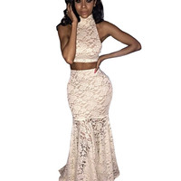 Beige Two Piece Lace Crop Top with Fishtail Skirt