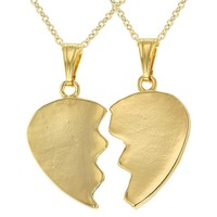 """18k Gold Plated His and Hers Plain Heart Pendant Love Couple Necklace 19"""""""
