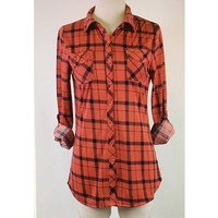 Plaid Button Down Roll Tab Sleeve Top Coral and Navy