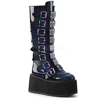 "Damned 318 Goth Punk Rock 3.5"" Platform Knee Boot Black Hologram"
