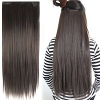 """Amazon.com: Fashionable 23"""" Straight Full Head Clip in Hair Extensions - Dark Brown: Beauty"""