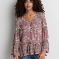 AEO Lace-Up Bell Sleeve Top, Pink