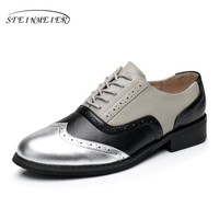Genuine leather big woman US size 11 designer vintage flat shoes handmade silver black grey oxford shoes for women with fur