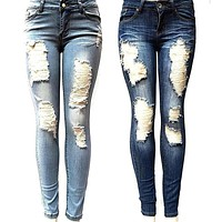 Sexy Spring Women Jeans High Waist Jeans Woman High Elastic Plus