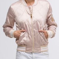 Satin Quilted Bomber in Champagne