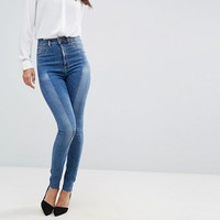 ASOS TALL RIDLEY High Waist Skinny Jeans With Seamed Split Front in Noelle Light Wash at asos.com