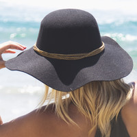 Chain Melody Wool Floppy Hat In Black