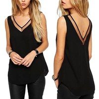 RECOMMENDEDTop V Basic Chiffon Shirt Neck Tops Blouse Women
