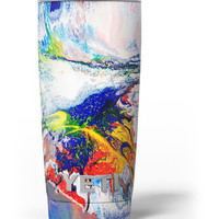 Bright White and Primary Color Paint Explosion Yeti Rambler Skin Kit