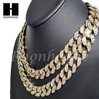 "14k Gold PT 15mm 8.5"" - 36"" Miami Cuban Choker Chain Necklace Bracelet"