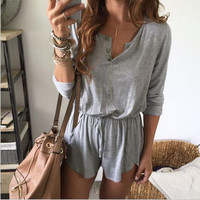 Gray Loose Causal Romper B0013850
