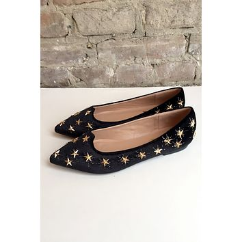 Majestic Velvet Star Flats - black