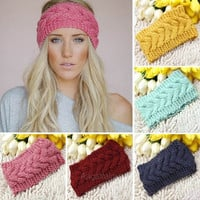 Hot Flower Crochet Knit Knitted Headwrap Headband Warmer Head Hair Band Winter A_L = 1655768324