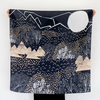 Mountain Blossom Midnight Blue Furoshiki. Japanese eco wrapping textile/scarf, handmade in Japan