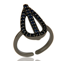 Blue Sapphire and Oxidized Sterling Silver Peace Sign Midi Ring