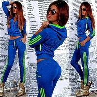 Zipper Hoodie Drawstring Pants Striped Patchwork Activewear Set